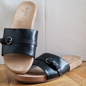 Shoes - Faux Leather Black Slides